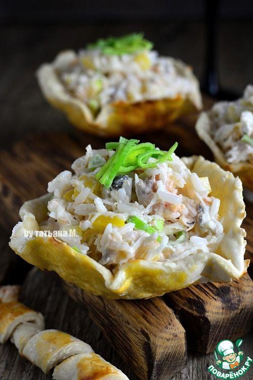 Рыбный салат в съедобных тарелочках - кулинарный рецепт