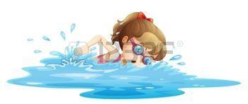 nuotatore: Illustrazione di una ragazza che indossa un costume da bagno nuoto rosa su uno sfondo bianco Vettoriali