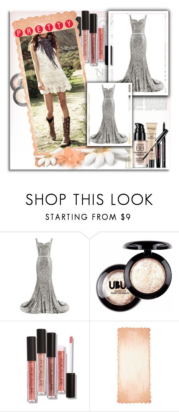 """""""Silver Square Neckline Sequined Court Train Trumpet Mermaid Long Prom Dress"""" by harrydress ❤ liked on Polyvore featuring Faliero Sarti"""