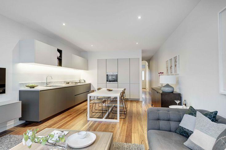 Construction & Interiors / Fitzroy Residence / Poliform Kitchen / Carrara Marble / Spotted Gum Flooring