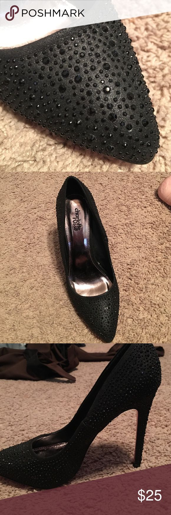 Black rhinestone stilettos! Gorgeous black rhinestone stilettos! Perfect for parties, prom, homecoming, Vegas, etc... impulse buy, never worn, size 8 Charlotte Russe Shoes Heels