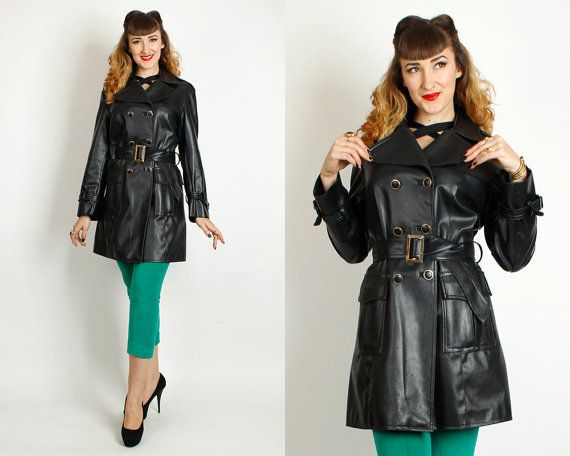Vintage 60s Mod Pvc Vinyl Double Breasted Rain Trench Coat