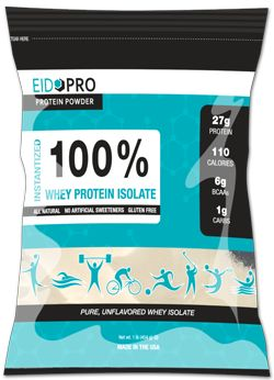 """New EidoPro is here - 100% pure whey isolate sourced from Wisconsin-based Grande, a grade """"A"""" manufacturer endorsed by the American Dairy Products Institute. Because EIDOPRO is unflavored and unsweetened, it offers an ideal way to provide a protein boost into your favorite recipe without changing the flavor or sweetness."""