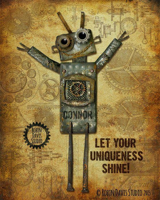 Unique Teen Boy Gift- Personalized Gift - Steampunk Art- Robotics Gift - Teen Room Decor - Industrial Decor - Robot Art - Robin Davis Studio