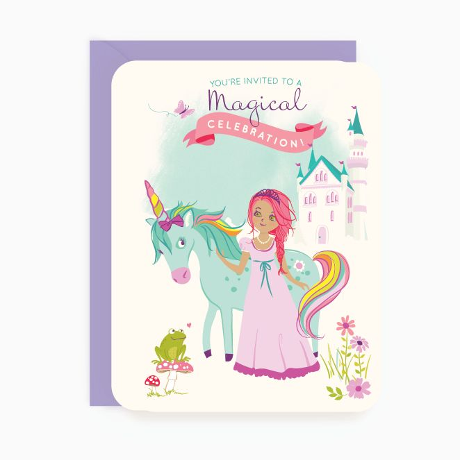Throw a party fit for a princess! Our adorable princess and unicorn party invitations will have little guests excited about the royal event from the start.