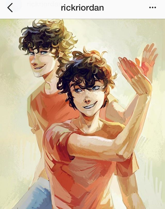 Rick's ig: A Thursday treat: Viria's take on Travis and Connor Stoll. Travis (L) Connor (R) as if you couldn't tell! See more of Viria's art on my website: rickriordan.com/characters/