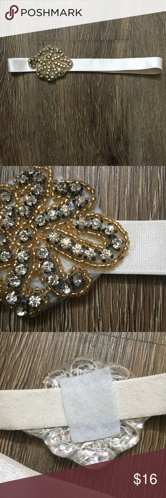 MixIt White Jeweled Headband Gold & White Super pretty white & gold headband from MixIt 😍 Perfect to add that extra touch to any outfit! This headband  is stretchable, therefore one size. :) Mixit Accessories Hair Accessories