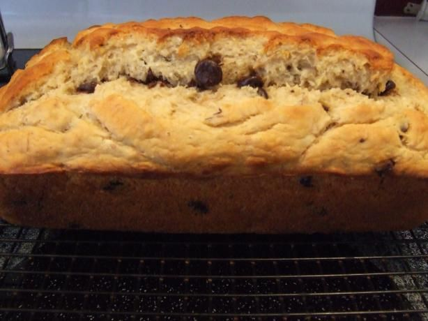 Bisquick® Chocolate Chip-Banana Bread  1 1⁄3; cups bananas , mashed very ripe (2 large)  ¾ cup sugar  ¼ cup milk  3 tablespoons vegetable oil  ½ teaspoon vanilla  3 eggs  2 2⁄3; cups Bisquick baking mix , Original  ½ cup semi-sweet chocolate chips