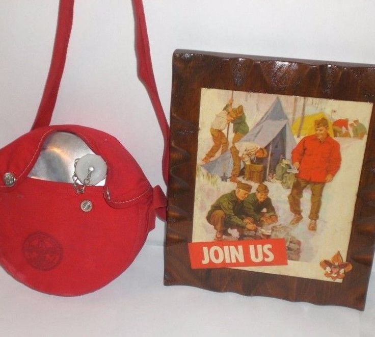 """BSA Vintage Boy Scout Water Canteen Red Cover JOIN US Wood Plaque 9"""" x 11"""" RARE"""