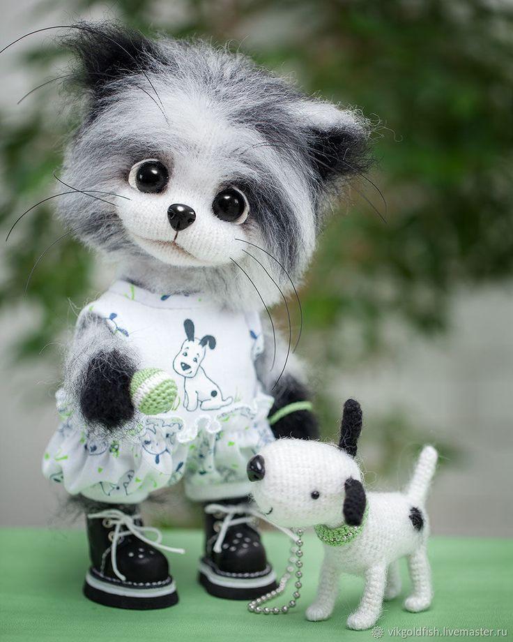 Купить Антошка и Тотошка - кот, собака, котенок, амигуруми ...