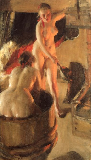 Women Bathing in the Sauna                                        Anders Zorn    - 1906