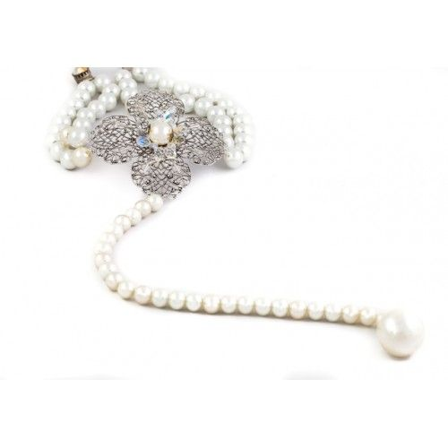"""""""Theoni's Necklace"""", necklace made of crystal pearls, with a central motif silver filigree embroidered with Swarovski"""