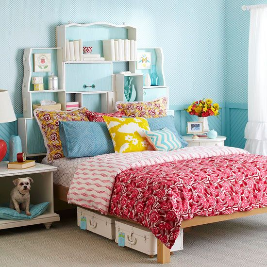 Max Headroom: Dogs Beds, Storage Headboard, Storage Solutions, Old Dressers Drawers, Old Drawers, Vintage Suitca, Diy Headboards, Bedrooms, Storage Ideas