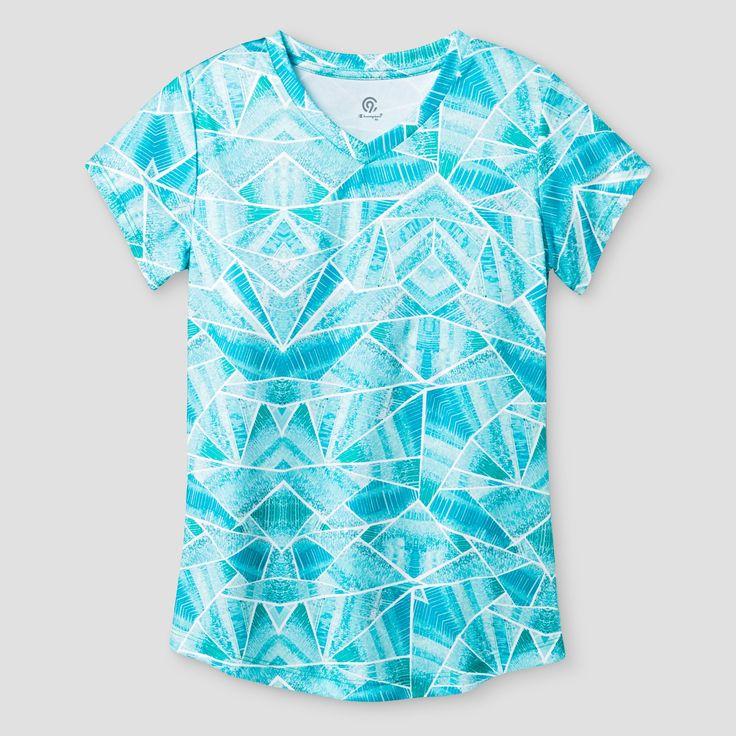 Girls' Printed Tech T-Shirt - C9 Champion - Mint Print XL, Blue