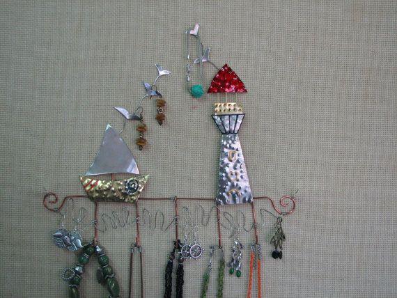 jewelry organizer /jewelry display/jewelry stand/jewelry holder/GREEK LANDSCAPE/sailboat/lighthouse