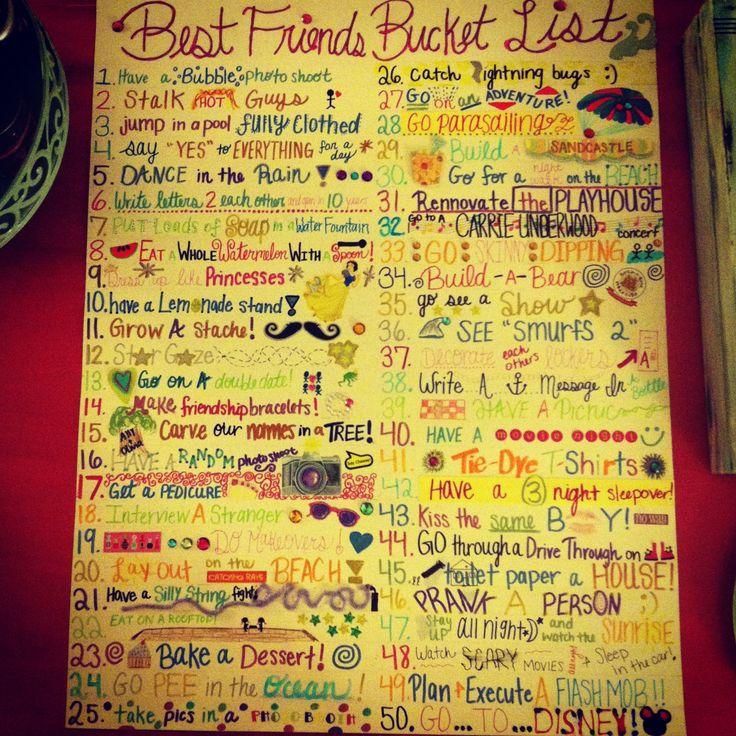 Best Friend Bucket List. So fun!!