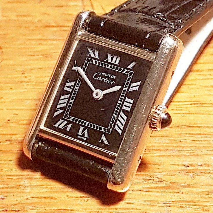 The classic cartier tank design. Perfect lines and a very attractive original black dial. This original one of the last manual mechanical versions from The late 1970s available soon #antiquewatchuk...