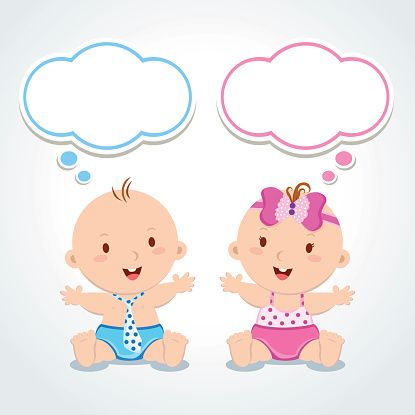 Twins. Babies with thinking bubbles. - Illustration vectorielle