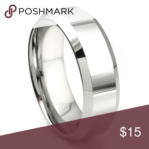New 8mm Unisex Wedding Band Ring Size 8 - 14 New Comfort Fit 8mm Unisex Wedding Band Ring Has beveled edges solid stainless steel. Hypoallergenic Will never fade or change color. Jewelry Rings