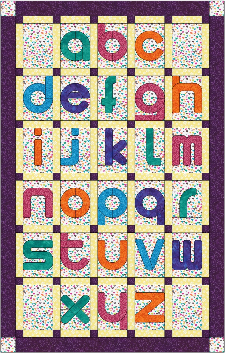 Quilt Patterns With Letters : Lowercase alphabet quilt pattern Quilting Pinterest