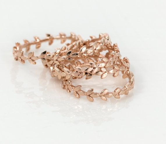 rose gold vine leaf ring