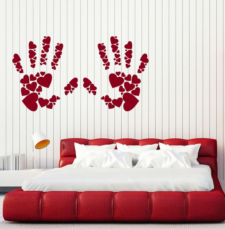 Large Wall Stickers Vinyl Decal Hands Palms Print Hearts Romantic Decor (z2028)