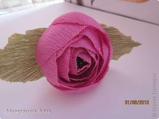 Английская роза из гофрированной бумаги