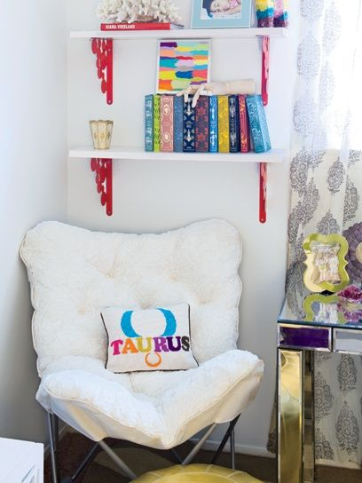 i like white with multicoloures! and then the mirror table....
