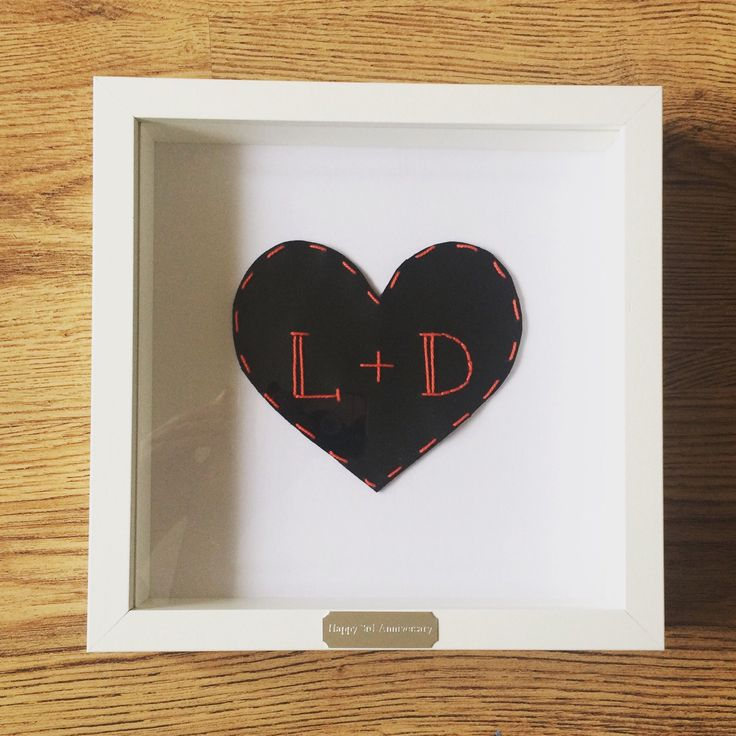 Framed Personalised Leather Heart