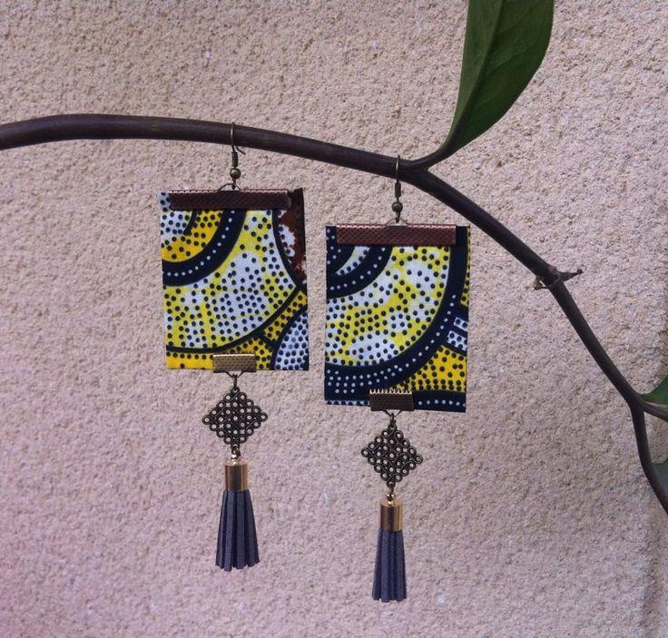 Boucles d'oreilles en tissu africain wax : Boucles d'oreille par kla