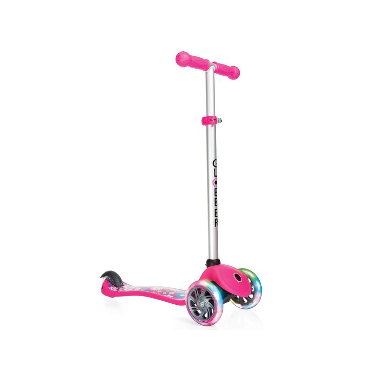 Globber Primo Fantasy 3-Wheeled Adjustable Height Scooter with LED Light-Up Wheels, Pink
