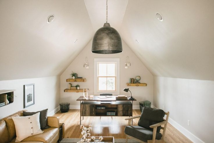 One of my favorite areas was the loft office area upstairs. This space took the whole project from tiny house to practical home. Having just one living area would've really made this house feel cramped, but this large office and sitting room transformed it and made all the difference.