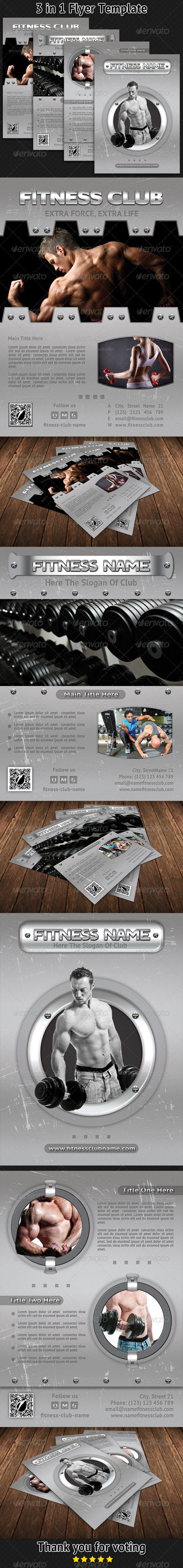 Fitness and Bodybuilding Bundle Flyer Template 01
