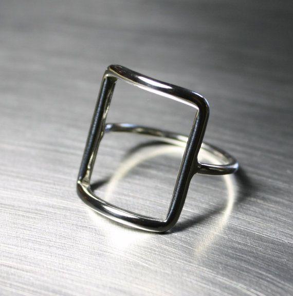 Silber Ring Quadrat Rechteck Ring von JenniferWoodJewelry auf Etsy