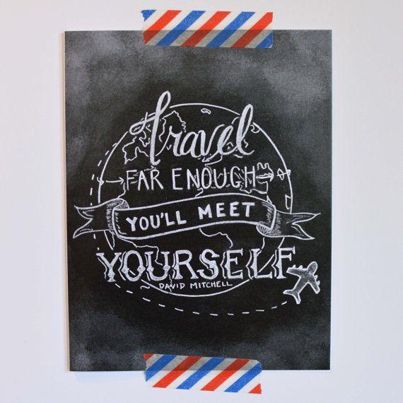Reise-Karte - Bon Voyage Card - David Mitchell Quote - inspirierende Karte - Karte für Reisende