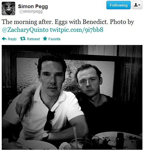 Benedict Cumberbatch and Simon Pegg. Zachary Quinto took the photo.  I die.