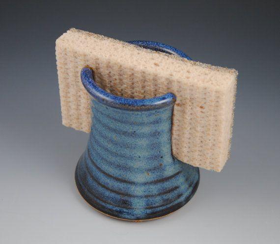 Sponge Holder - Handmade Stoneware in Denim Blue: