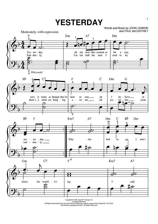 Piano Sheet Music - Yesterday, by John Lennon & Paul McCartney