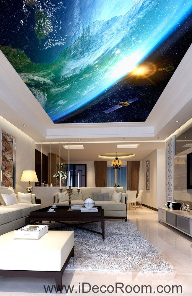 Sun Earth Ourterspace Satellite 00076 Ceiling Wall Mural Wall Paper Decal  Wall Art Print Decor Kids