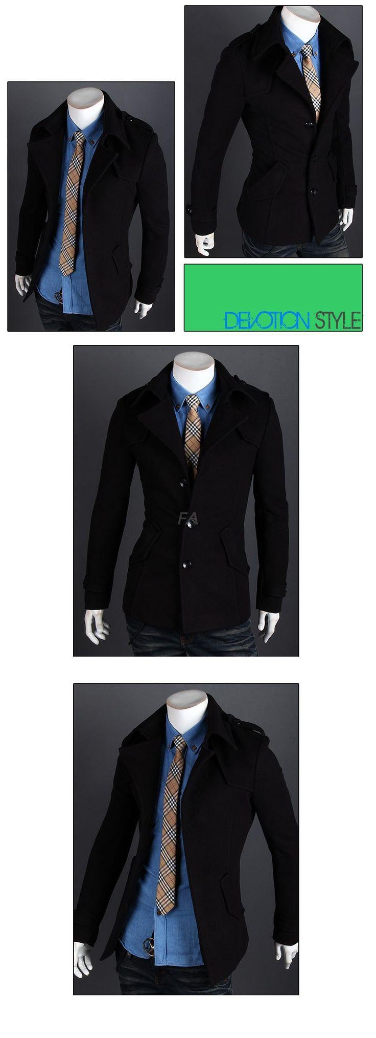 Manteau en Laine Slim Fashion Hommes