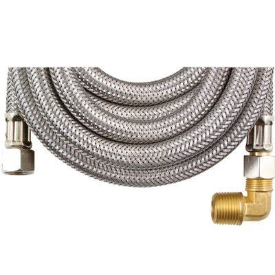 Certified Appliances 8' Braided Stainless Steel Dishwasher Hose with Elbow