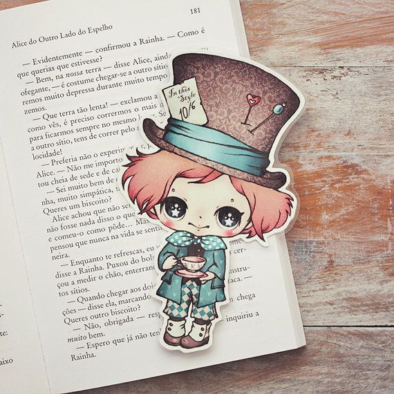 Alice in Wonderland  The Mad Hatter  bookmark by ribonitachocolat