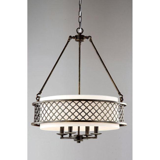 Lux Bronze 4-light Beige Pendant Chandelier By The