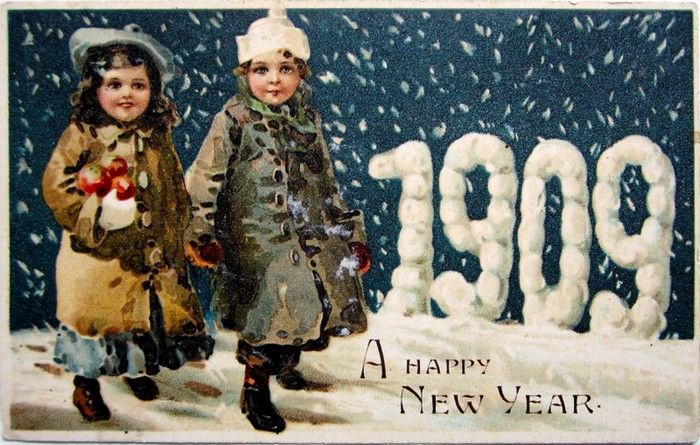 Old New Year Post Card — New Year Date 1909  (700x445):