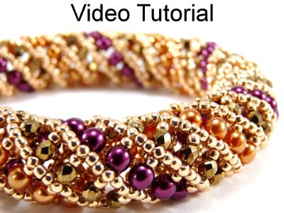 Beaded Tubular Netted Stitch Necklace Bracelet Jewelry Making Video Tutorial Pattern Instructions   Simple Bead Videos