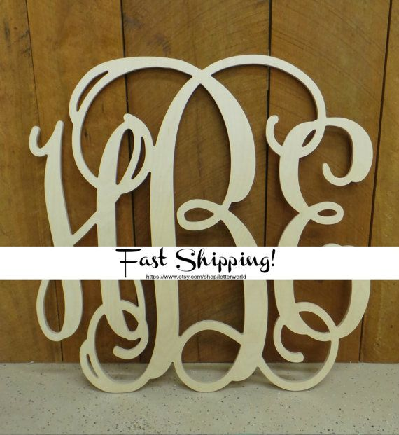 Unpainted Wooden Monogram Wall Hanging  Wall by letterworld