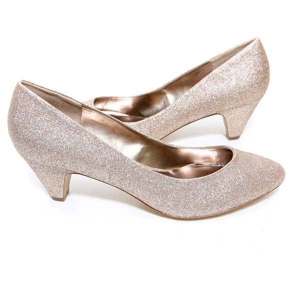 Steve Madden 'Sasha' Heel (Gold Glitter)- I like that they have a heel but not too high