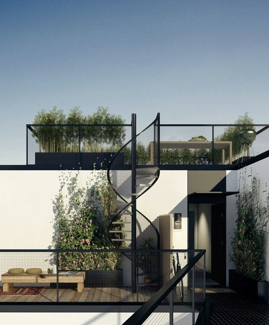 Laderfabriken By Oscar Properties. * roof terrace, spiral stair, black framed railing