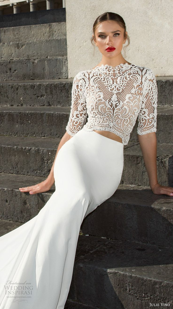 julie vino fall 2017 bridal half sleeves high neck heavily embellished bodice crop top elegant sophiscated sheath wedding dress v back chapel train (1202) zv