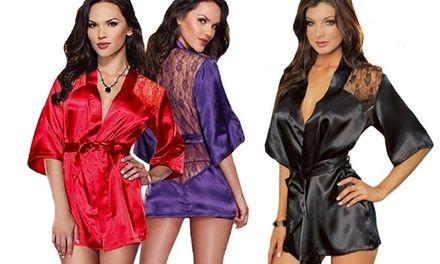 1 ou 2 kimonos en satin et dentelle avec string, coloris au choix dès 12,90€ (jusqu'à 71% de réduction)